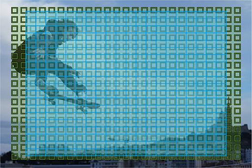 相位检测和对比度检测自动对焦点覆盖范围示意图