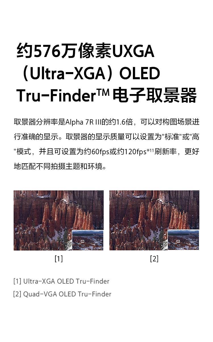 約576萬像素UXGA(Ultra-XGA)OLED Tru-FinderTM電子取景器